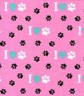 Snuggle Flannel Fabric 42\u0027\u0027-Pawprints on Pink