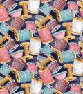 Premium Prints Cotton Fabric 43\u0022-Tossed Spools & Bobbins