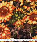 Anti-Pill Plush Fleece Fabric-Flowers On Black