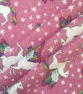Doodles Juvenile Apparel Cotton Fabric 57\u0022-Pink Pegasus Stars