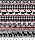 Snuggle Flannel Fabric 42\u0027\u0027-Stag, Moose & Fair Isle Stripes