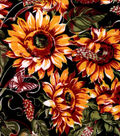 Snuggle Flannel Fabric 42\u0027\u0027-Sunflowers & Butterflies