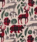 Anti-Pill Plush Fabric 58\u0022-Plaid Wilderness Animals