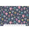 Premium Cotton Fabric 43\u0027\u0027-Blue Astrid Garden Tossed