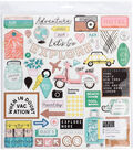 Crate Paper Here & There 48 pk Chipboard Stickers with Rose Gold Accents