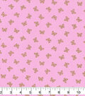Keepsake Calico Cotton Fabric-Metallic Butterflies on Pink