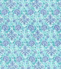 Asian Inspired Cotton Fabric 43\u0022-Floral Damask Teal