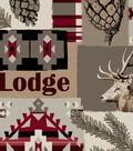 Anti-Pill Fleece Fabric -Red Wild Aztec Patch