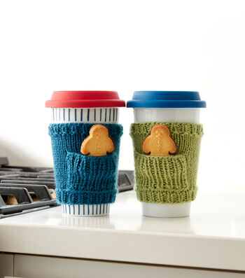 How To Make a Caron Knit Pocket Cup Cozy