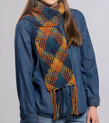 How To Make A Premier Yarns Everyday Plaid Fringe Scarf