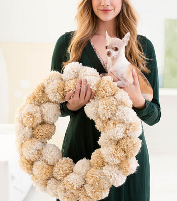 How To Make a Lion Brand Hometown USA Winter Pales Pom-Pom Wreath