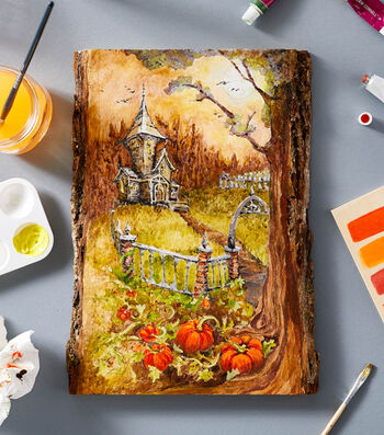 How To Paint A Halloween Scene On Wood
