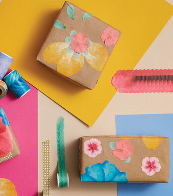 How to Make Floral Washi Tape Gift Wrap