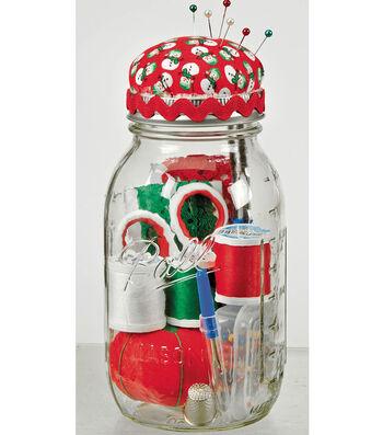 Mason Jars with Sewing Supplies