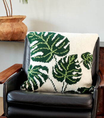 How To Make A  Bernat Tropical Leaf Knit Pillow