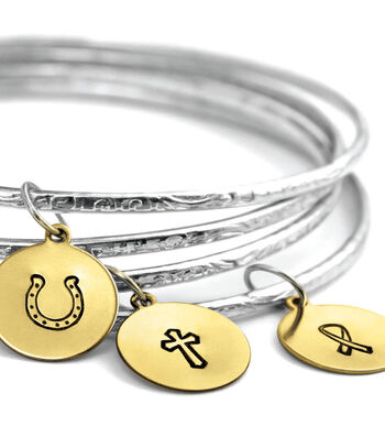 Stamped Charm Bangles