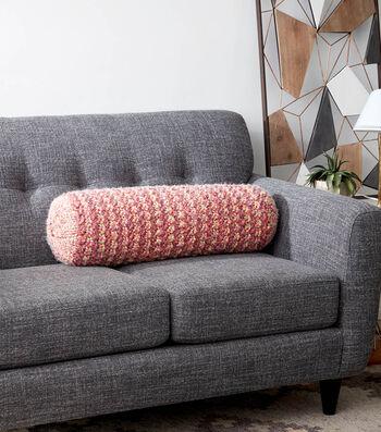 Textured Stripe Knit Bolster Pillow