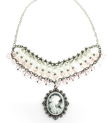 Pink and Pearl Cameo Statement Necklace