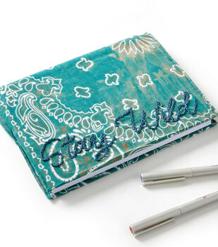 How To Make a Bandana Embroidered Journal Cover