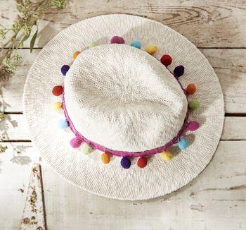 Pom Pom Trimmed Hat