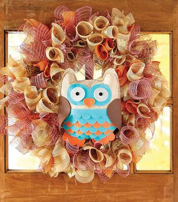 Make A Owl Deco Mesh Wreath