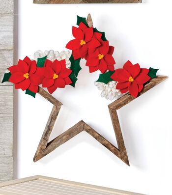 How To Make Felt Flowers On A Wood Star