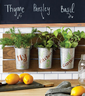 How To Make Wood Hanger & 3 Galvanized Planters for herbs