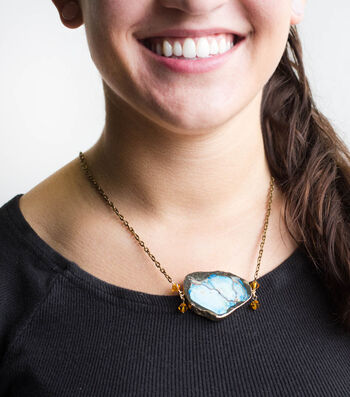 How To Make A Gold and Blue Druzy Necklace