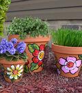 Three Terra Cotta Floral Pots