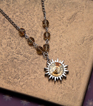 How To Make a Swarovski Golden Shadow Sun Necklace