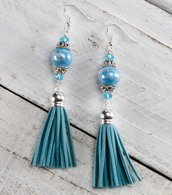 Blue Tassel and Stone Dangly Earrings