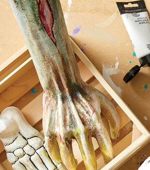 How To Make Painted Styrofoam Zombie Bones and Hands