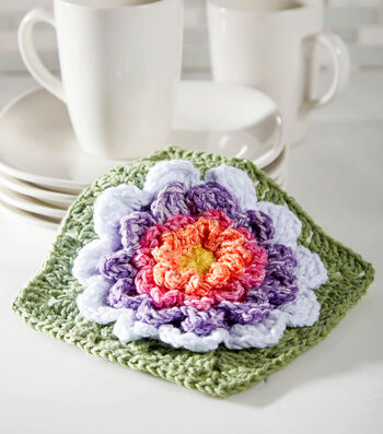How To Crochet A Full Bloom Dishcloth
