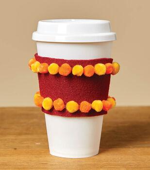 How To Make a Pom Pom Coffee Sleeve