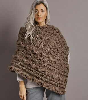 How To Make A Wool-Ease Thick & Quick Cabled Poncho