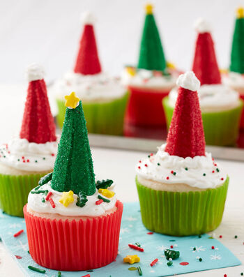 How To Make Christmas Tree and Santa Hat Cupcakes