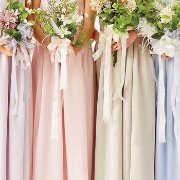 Romantic Bridal Gowns and Bouquet