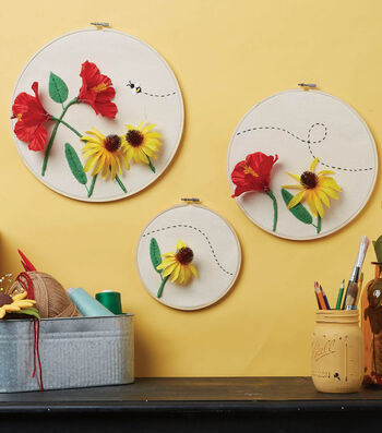 How To Make Three Floral Hoop
