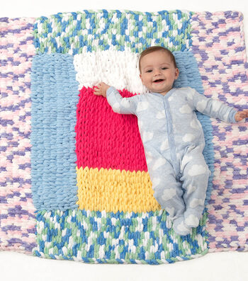 How To Make a Lion Brand Off The Hook Patchwork Baby Blanket