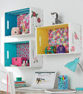How To Make A Crate Shelf With Fabric Back And Painted Sides