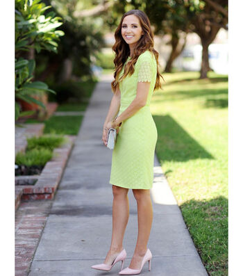 Lime Lace Pencil Dress