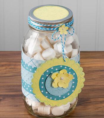 Idea Market Floral Embossed Mason Jar