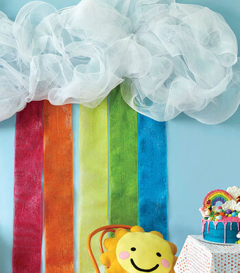 How To Make a Deco Mesh Rainbow with Clouds