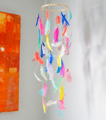 Make A Colorful Feather Mobile