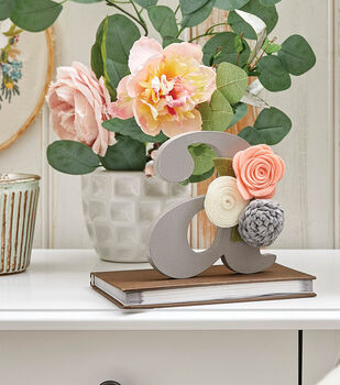 How To Make a Painted Wood Letter With Felt Flowers