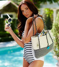 Black and White Swimsuit and Beach Bag