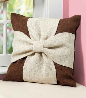 Idea Market Burlap Knot Pillow