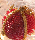 Gold & Red Simple Seed Bead Ornament