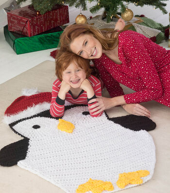 How To Make a Lion Brand Hometown USA Fun Fur Holiday Penguin Arfghan