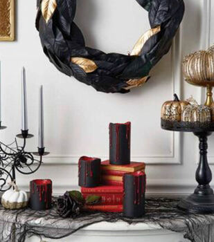 How To Make Black Candles with Blood & Black With Gold Oval Wreath